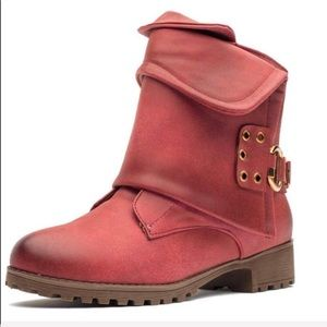 Karkein red moto combat boho boots size 7.5 NEW